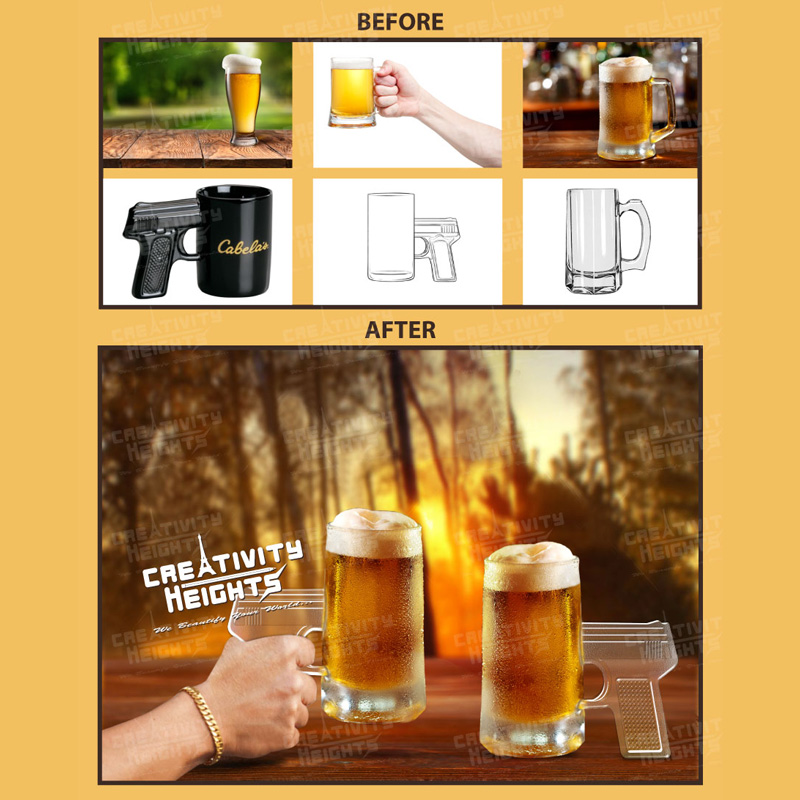 Photo-Realistic Pistol-Grip Glass Beer Steins